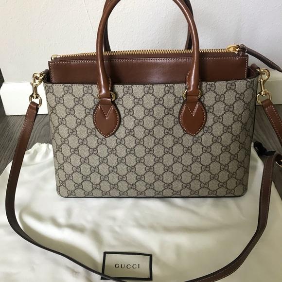 571579502 Gucci Handbags - Gucci GG print Supreme tote bag, brown LIKE NEW!